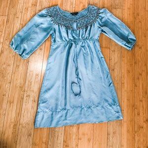 BCBG sz S maxazria silk boho chic dress top smock